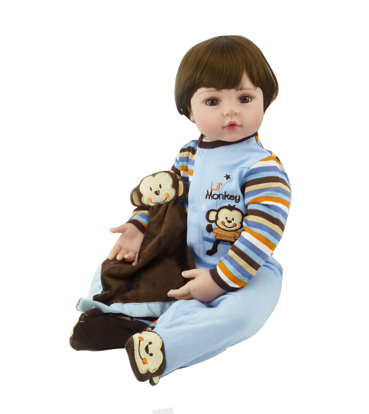 Pursue 24/60 cm Reborn Baby Boy Doll In Couple Doll Handsome Face Brown Eyes Lovely Silione Limbs Cloth Body Present For Boy lovely bear couple doll decoration brown