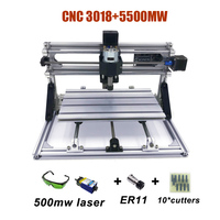 Better Quality Blue lasers New DIY CNC3018 PRO With GRBL Software mini laser engraver 500MW/2500MW/5500MW/15W Lasers