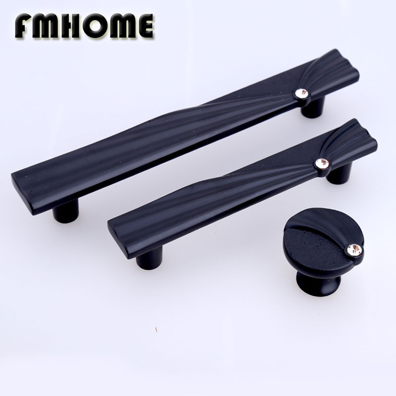 128mm modern simple black kitchen cabinet cupboard door handle rhinestone drawer tv cabinet knobs pulls 96mm glass crystal pulls black european simple kitchen cabinet door handles drawer cupboard vintage pulls knobs furniture accessories knob 96 128mm