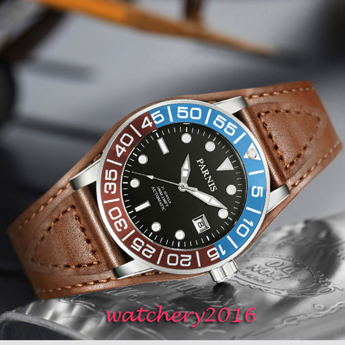 42mm Parnis black dial luminous Hands Leather strap Sapphire Glass Complete Calendar miyota automatic Mechanical Men's Watch 42mm parnis withe dial sapphire glass miyota 9100 automatic mens watch 666b