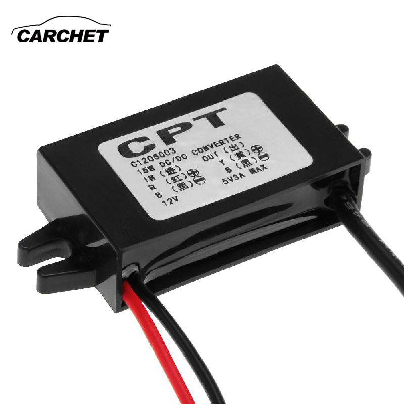 CARCHET DC-DC Converter 12V to 5V 3A Step Down Power Supply Module Micro USB Converter High Quality maitech 12v to 5v 3a dc dc step down power supply car power converter black