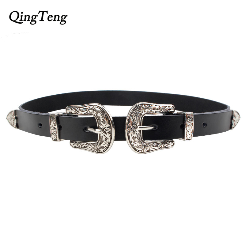 Carved Double Metal Pin Buckle Women Belts Vintage High Quality Strap Brand Designer Design Jeans Genuine Leather Belt For Woman