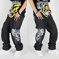 Hot Sale Tide men's hip-hop jeans loose hip-hop pants male non-mainstream men's pants street hip-hop fertilizer  Free Shipping