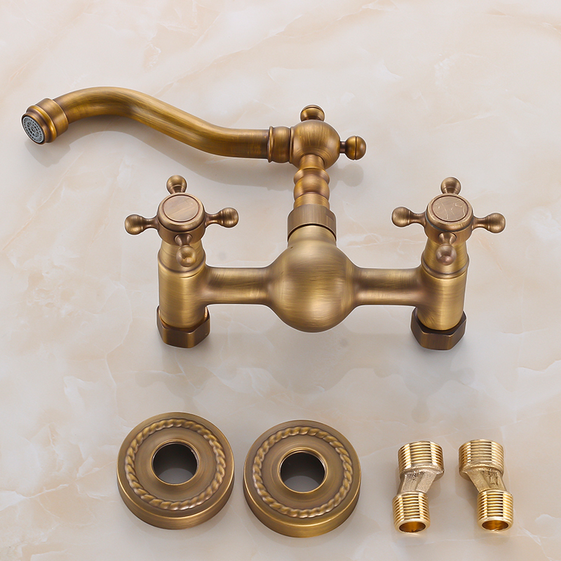 Wall Mounted Antique Brass Faucets Kitchen Sink Swivel Faucet ...