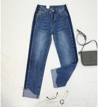 Spring women jeans nine pants loose high waist was thin irregular flanging wide leg pants