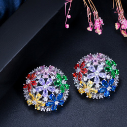 CWWZircons Multi Color Round Cubic Zirconia 925 Sterling Silver Stud Earrings