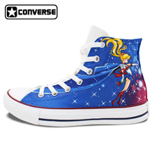 Women Men Converse All Star Anime Sailor Moon Design Hand Painted Shoes Man Woman High Top Canvas Sneakers Cosplay Gifts