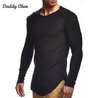 Fashion Spring Autumn Solid T Shirt Men Male Tshirt Long Sleeve Slim Fit White T Shirt