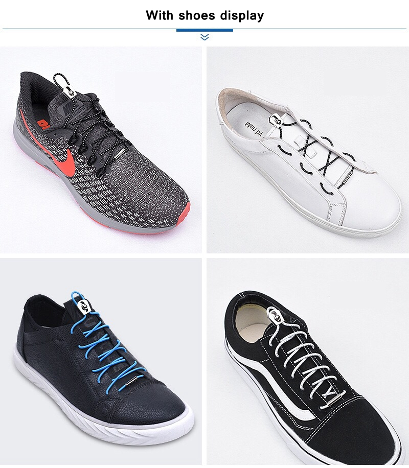 Kids Adult Elastic Locking Shoelace No Fasten Laces Shoe Sneakers Trainers Acces