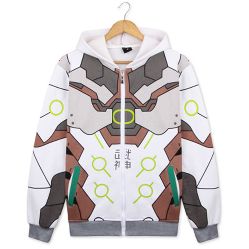 Overwatch Reaper Genji Cosplay Costume 3D Printed Hoodie Men's Sweatshirt Jacket Zipper Coat