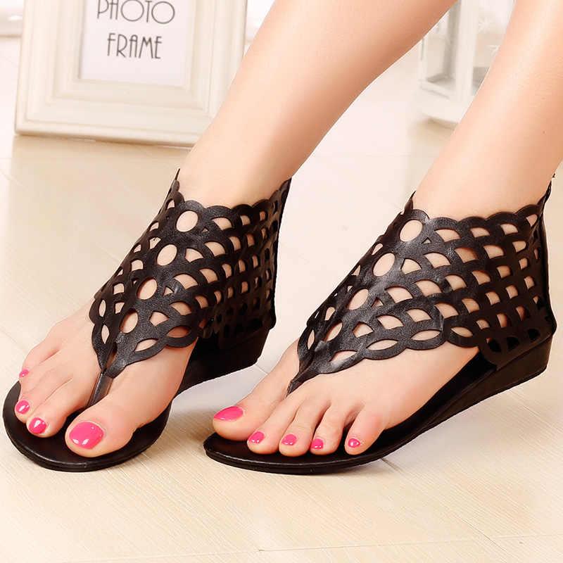 2018 Roma tarzı kadın sandalet balık ölçekli cut out takozlar sandalet tasarımcı bayanlar yaz ayakkabı kadın flip flop sandalias mujer