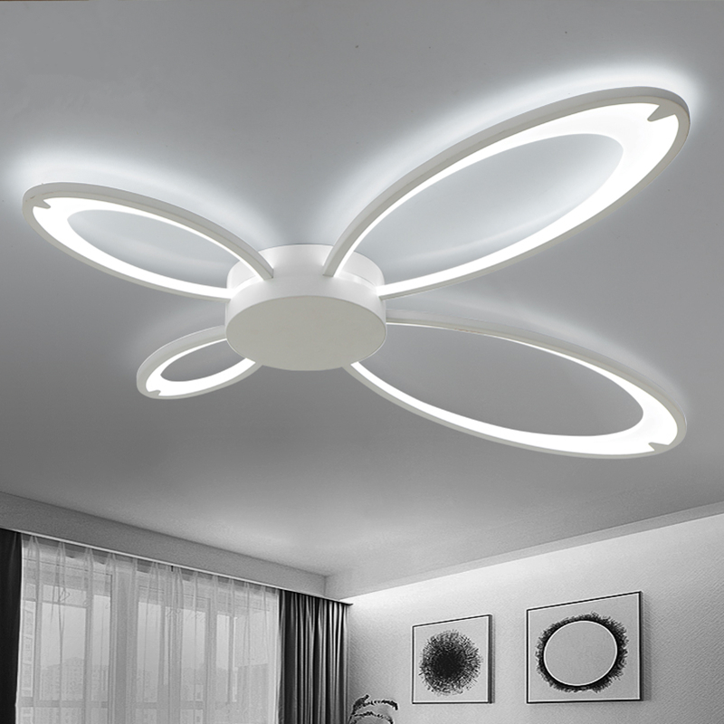 Modern Butterfly shape Aluminum Ceiling Lights Living room bedroom acrylic Led Lustre luminaria lamps Fixtures surface mount ceiling lights star shape for baby room romantic bedroom lamps luminaria ceiling lighting fixtures deckenleuch