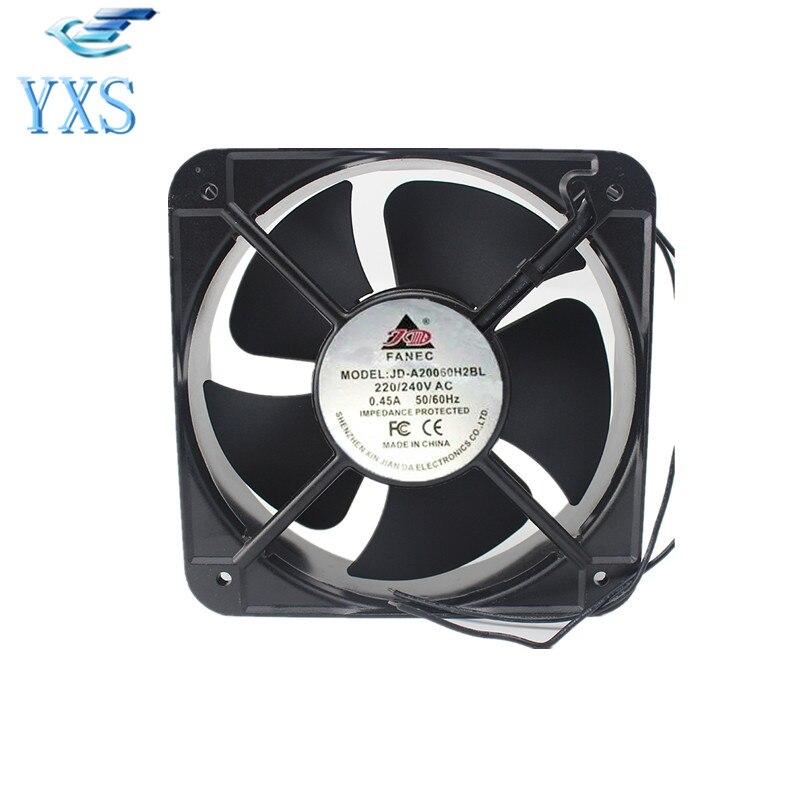 JD-A20060H2BL AC 220V-240V 0.45A 50/60HZ 2 Wires 20060 20cm 200*200*60mm Metal Cooling Fan g2260ha2bl square cooling fan ac 220v 0 32a 42w 20060 20cm 200 200 60mm 2 wires