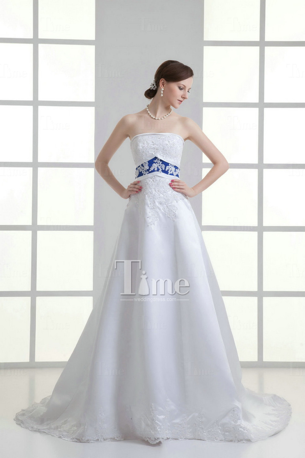 A Line Strapless Court Train Sequins Satin Two Tone Navy