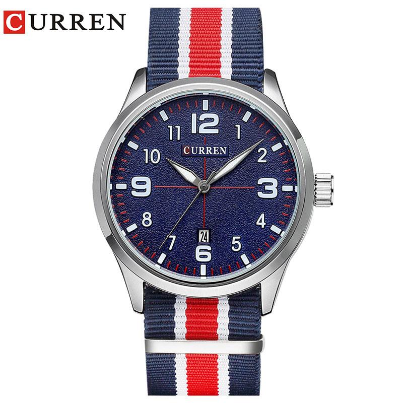 Nueva Curren relojes hombres Top marca de lujo mens nylon Correa relojes de cuarzo popular Relojes deportivos Relogio masculino 8195