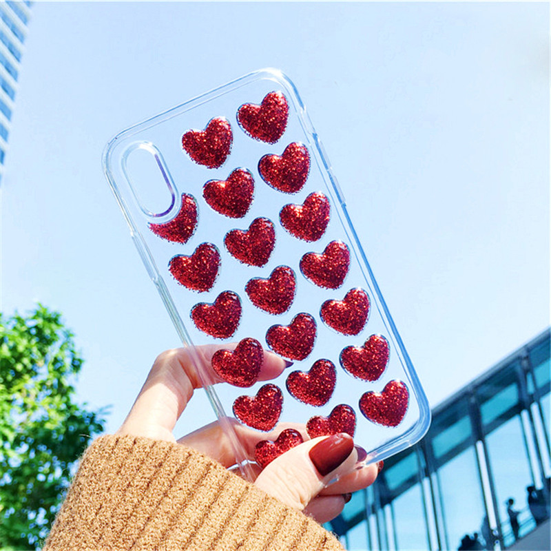 3D Bling Love Heart Iphone 6S 6 S Plus Iphone 7 8Plus Luxury Clear Coque For Iphone 8 7 Plus Iphone XS MAX XR X 10 Case