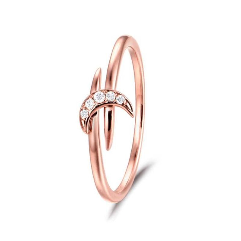 18K Gold Crescent Moon Crystal Finger Rings For Women Men Crescent Moon Rings Jewelry Boho Ring Bague 1.44G skull cat print crescent hem top