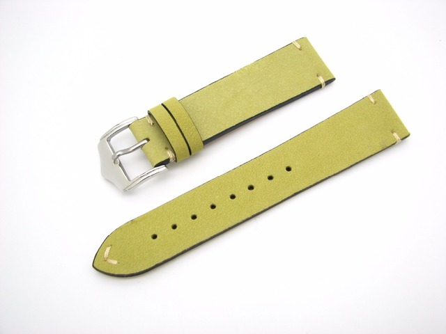 20 22mm New Men Women Genuine Cowhide Suede Leather Green Yellow Classic watchband Strap Belt Silver Polish Pin Buckle Best Gift