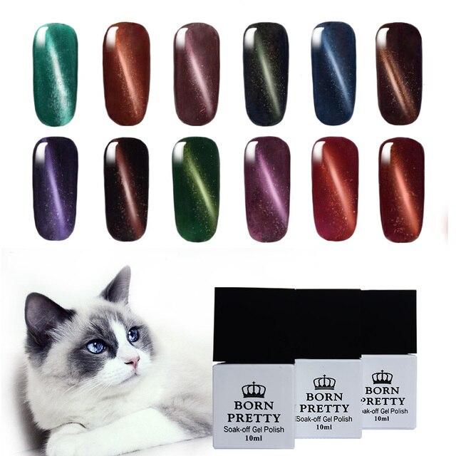 6 Bottles/Set 10ml BORN PRETTY Magnetic Cat Eyes Gel Soak Off UV Gel Polish No Black Base Needed