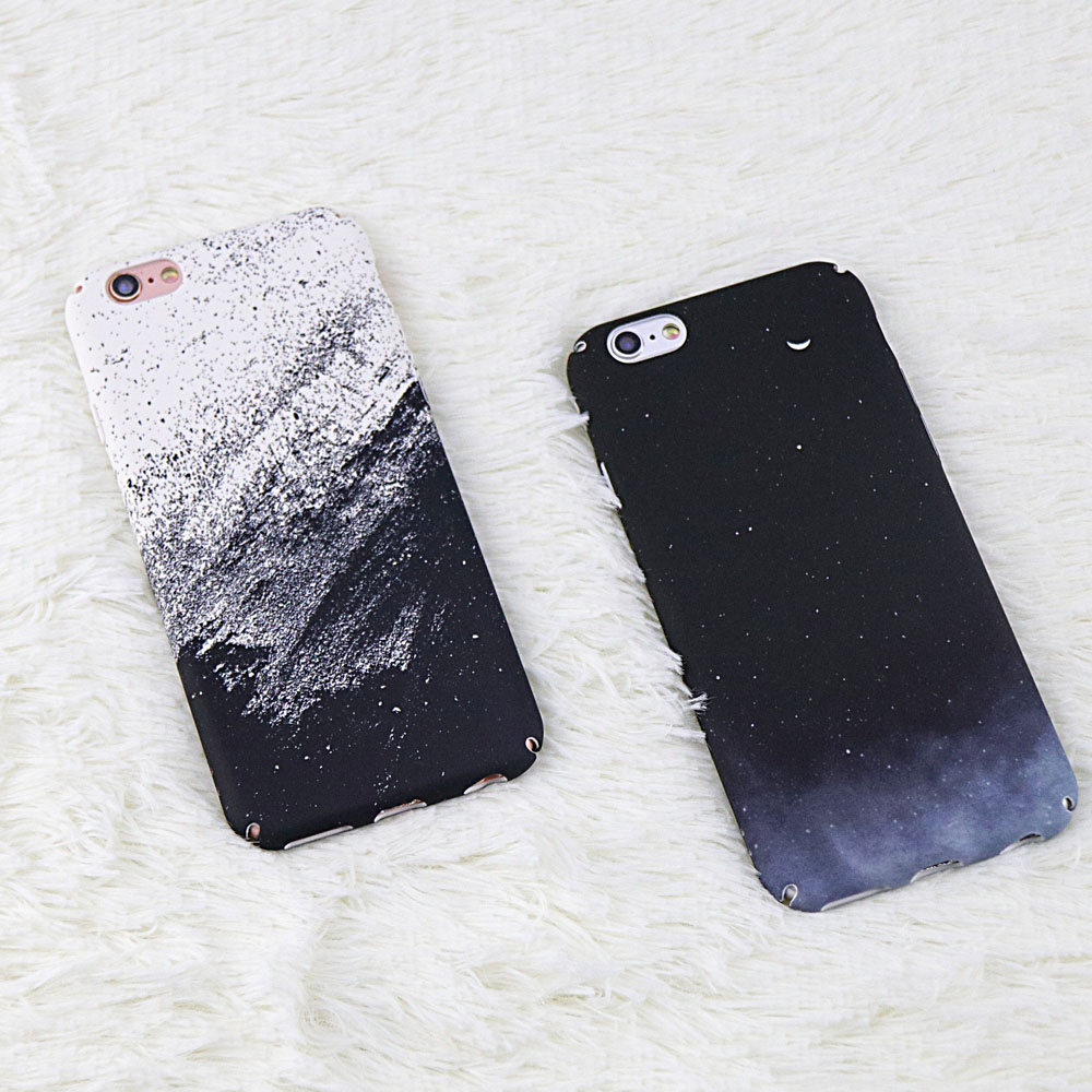 Starry Sky Black and White Sand Pattern phone cover For iphone 6 case For iphone 7 8 6 6S Plus case Hard PC Back Cover Coque