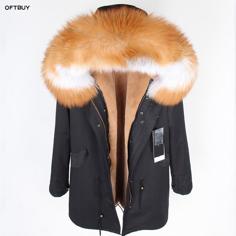OFTBUY 2019 Winter Jacket Women Big Real Fur Coat Parka Red Fox Fur Collar Faux Fur Liner Camouflage Long Coat Fashion New