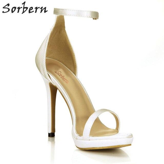 1123fa72147 Sorbern Fashion Ivory Silk Sandals Women Bridal Shoes Stilettos High Heels  Wedding Shoes Ankle Strap One-Strap Summer Sandals
