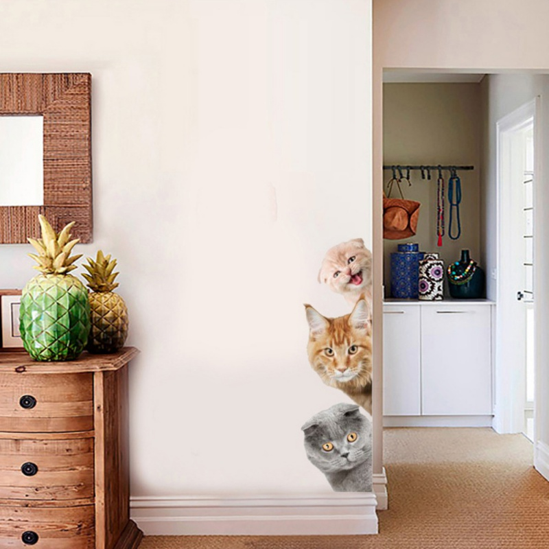 Supply Dogs Cats 3d Wall Sticker Funny Door Window Wardrobe Fridge Decorations For Kids Room Animal Art Vinyl Decal Home Decor Durable Modeling Wall Stickers