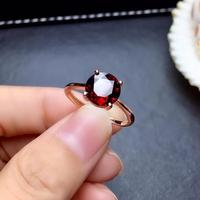 Garnet gemstone ring with 925 silver for women fasion bright jewelry