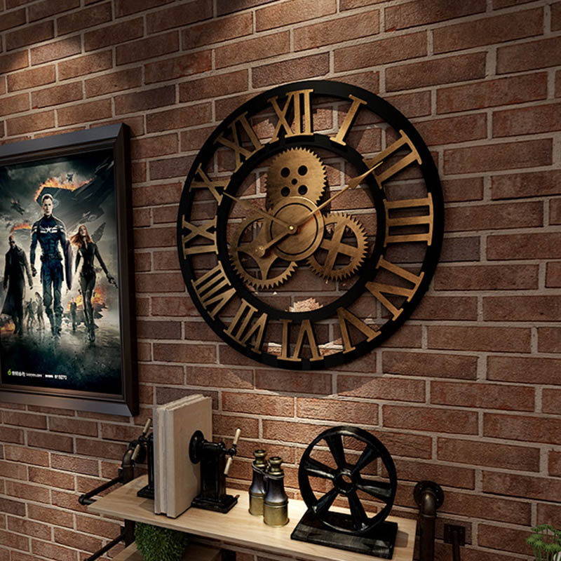 Wall Clock 3D Retro Rustic Decorative Luxury Art Big Gear Wooden Vintage Large Handmade Oversized Wall Clock For Gift 40cm