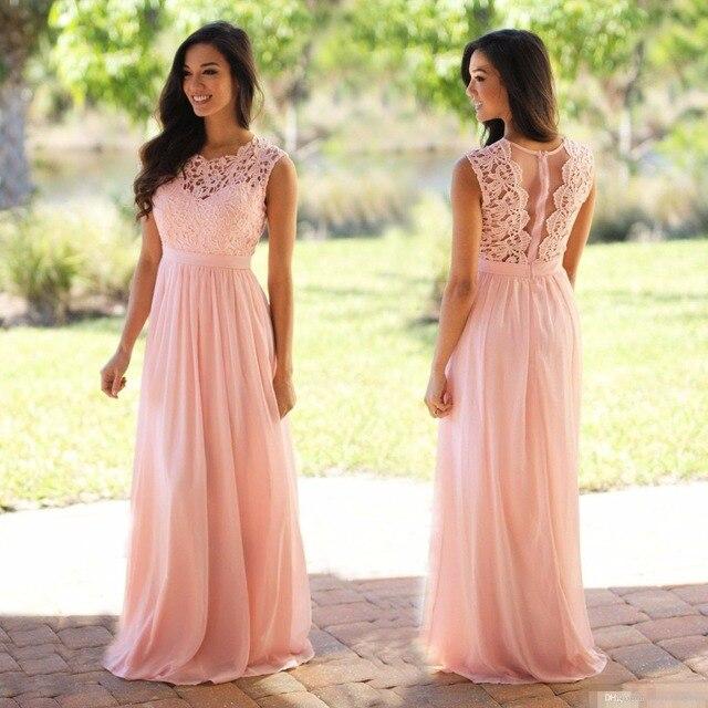 6b6d8b6439 Sexy Coral Blush Rosa Vestidos de Dama de 2017 la Longitud del Piso Gasa  Vestido de