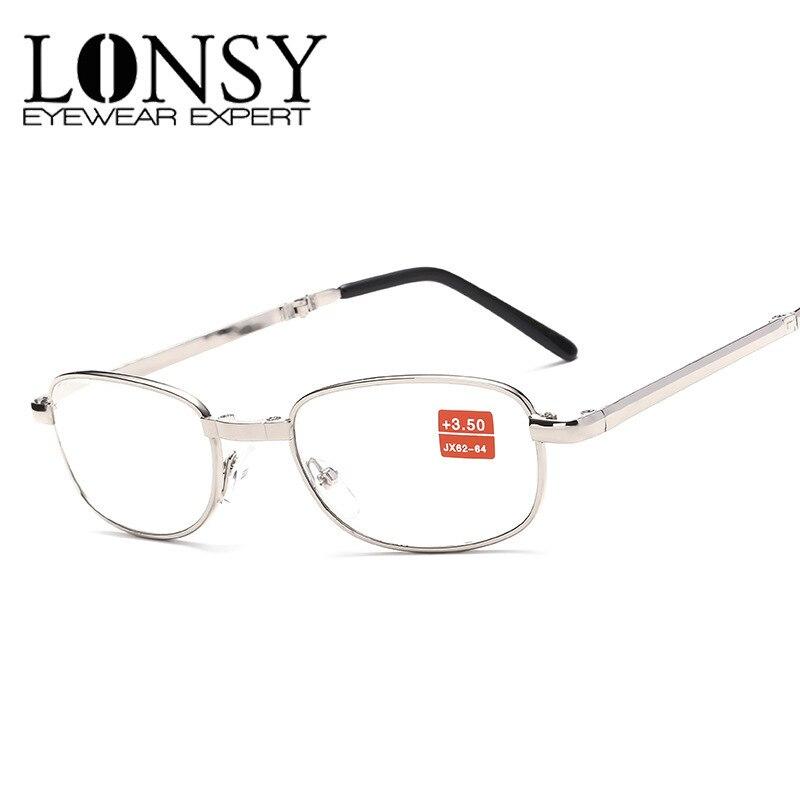 LONSY Hot Sale Unisex Fashion Folding Reading Glasses Women Men Metal Frame Anti Fatigue Flower Temple Presbyopic Magnifier