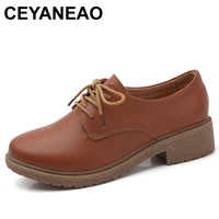 CEYANEAO 2018 leather shoes woman Suede women sneakers oxford women's shoes Lace up Luxury autumn loafers women female shoeE944