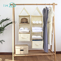 Multi-layer storage hanging bag Wardrobe drawer type organizer box New cotton and linen Fold-able clothes storage hanging bag