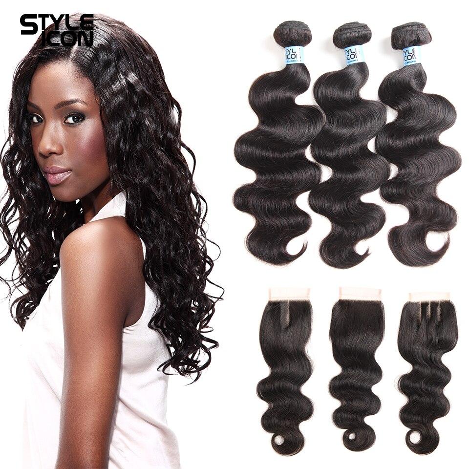 Styleicon Brazilian Body Wave Human Hair Bundles With Closure 3 Bundles With Closure Non Remy Hair Extension Free Shipping