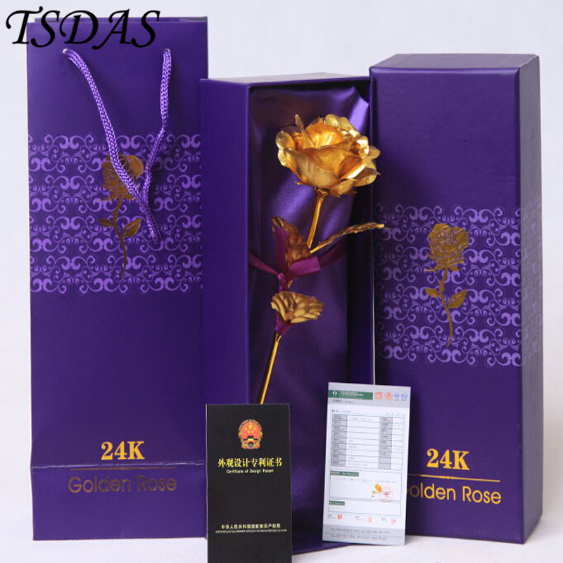2016 Hot Sale Alla hjärtans dag presenter 25cm Längd 24k guld Rose, Golden Rose Flower HOME Decoration