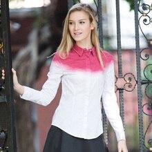 Veri Gude Women's Shirts Contrast Color Fashion Slim Fit Blouse Cotton Fabric