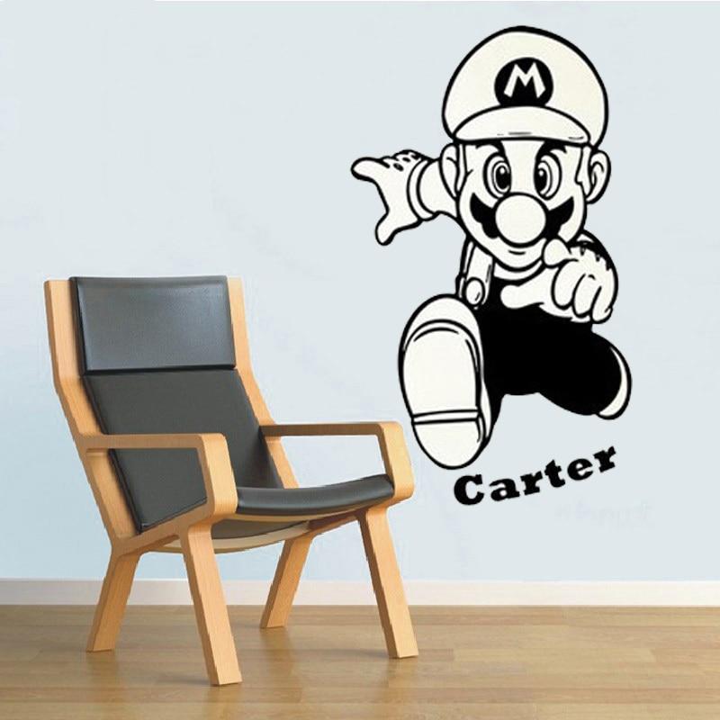 Super Mario Cartoon Wandaufkleber Mit Personalisierte Name ...