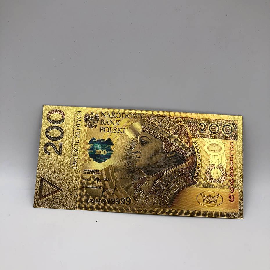 1 шт. unised 1994 Edition Poland Currency designed цветной 24 K позолоченный банкнот 500 PLN для банка подарочные сувениры - Цвет: 200PLN2017colored