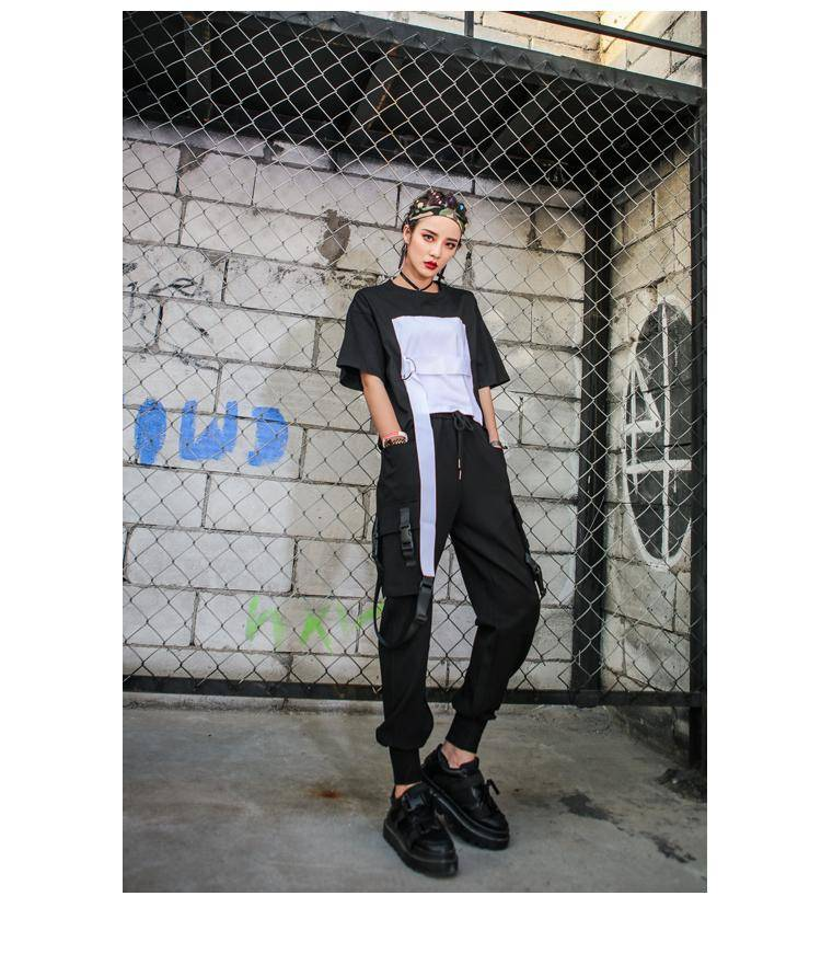 Black High Waist Cargo Pants Women Pockets Patchwork Casual Funny Loose Streetwear Pencil Pants Fashion Hip Hop Women Trousers 2