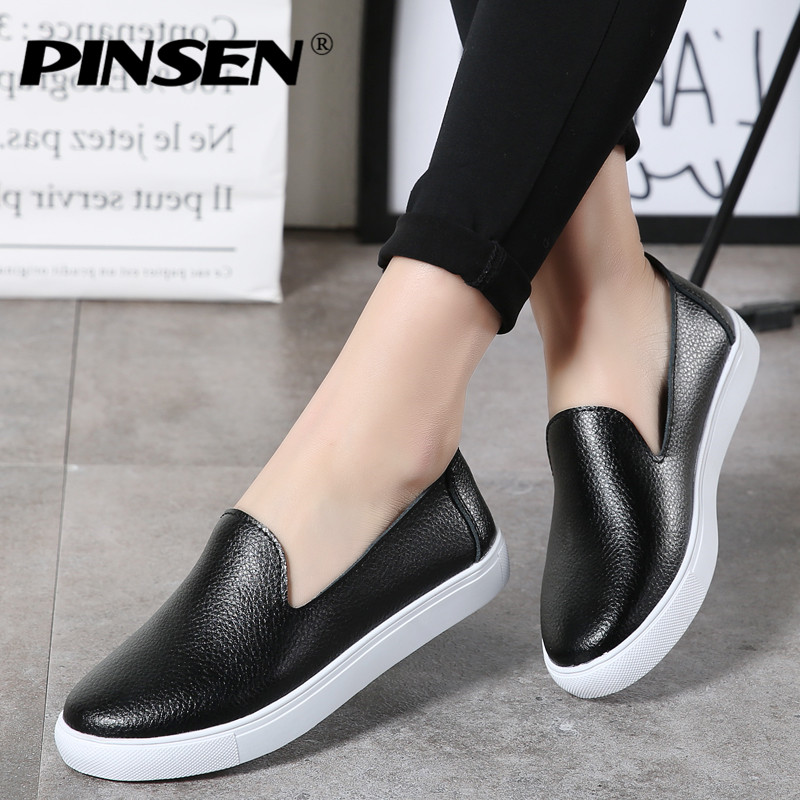 PINSEN 2018 Autumn Women Flats Shoes Ballerina Flats Leather Oxford Shoes for Women White Slip-on Ballet Flats Loafers Shoes yeerfa fashion women loafers canvas shoes slipony oxford flats heels breathable slip on comfortable mix colors white black shoes