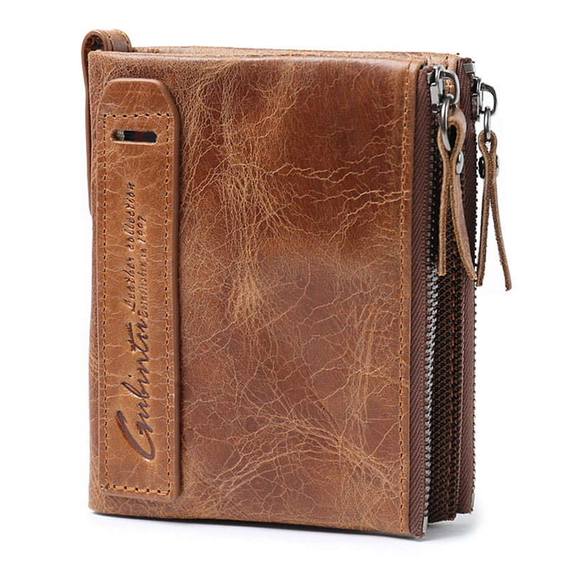 HOT Genuine Crazy Horse Cowhide Leather Men Wallet Short Coin Purse Brand High Quality Small Vintage cow leather card Wallet gubintu genuine crazy horse leather men wallet short coin purse small vintage wallets brand high quality designer carteira