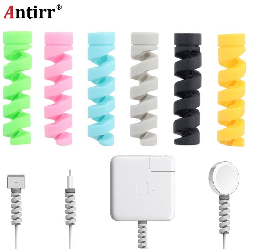 Spiral Cable Protector Data Line Cord Protector Protective Case Cable Winder Cover For IPhone USB Charger Cable Free Shipping