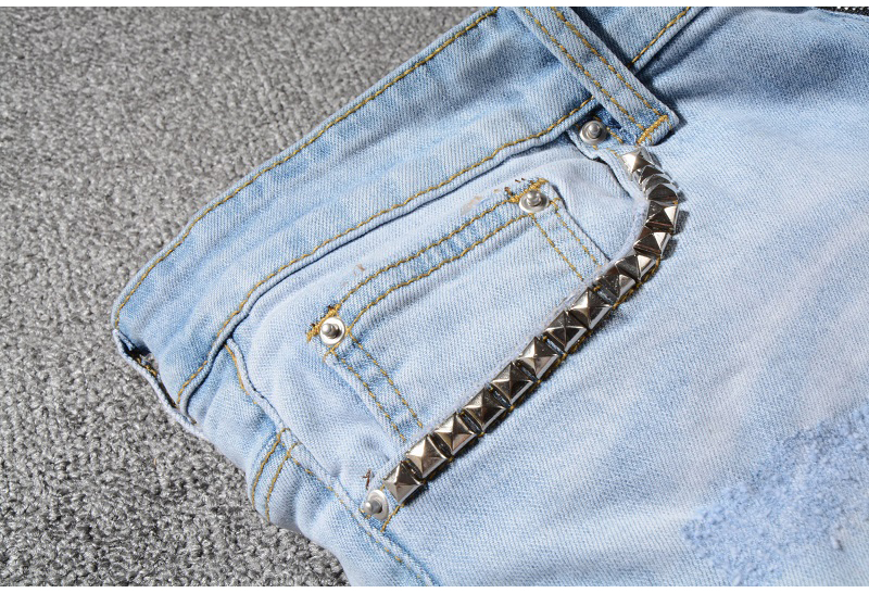 Sokotoo Men's stars printed leopard patchwork rivet slim jeans Light blue holes ripped skinny stretch denim pants Trousers 49