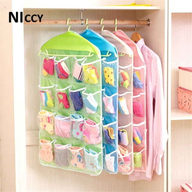 16pockets clear hanging storage bags clothes socks bra underwear 16pockets clear hanging storage bags clothes socks bra underwear organizer rack hanger home storage hanging bag sisterspd