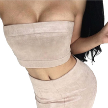 Smoves Sexy Strapless Strechable Women Suede Bustier Bandeau Crop Top Tank Tops Autumn Winter Spring Tube Top Sleeveless Vest