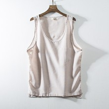 Men's New Fashion Cotton Linen Vest Men's Solid Color Sleeveless Retro Vest Tops Men's Summer Linen Vest L5028
