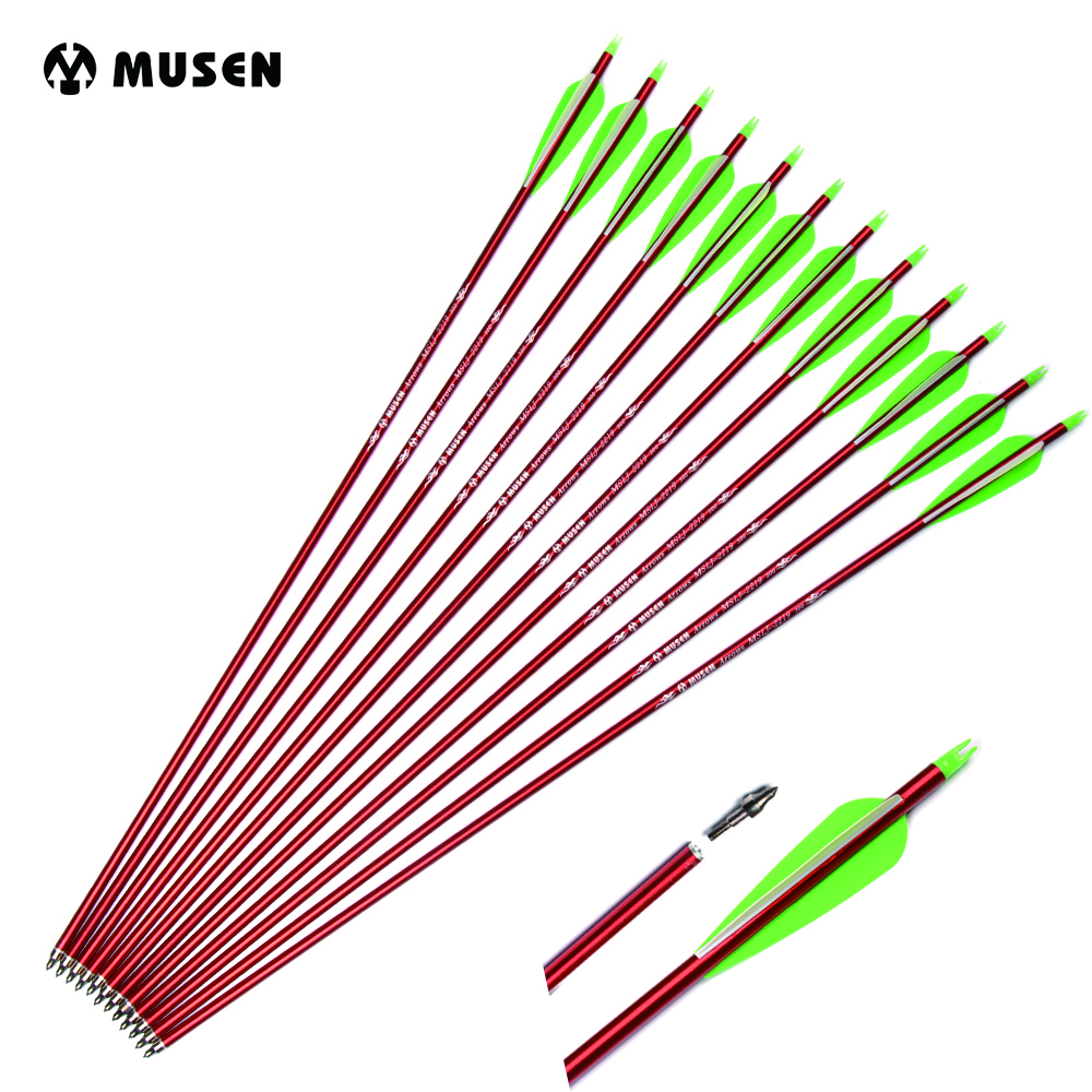 6/12/24pcs 30 Inches Archery Arrow Aluminum Arrows replaceable Arrowhead For 30-80lbs Compound Bow 2 Green 1 White Feather6/12/24pcs 30 Inches Archery Arrow Aluminum Arrows replaceable Arrowhead For 30-80lbs Compound Bow 2 Green 1 White Feather