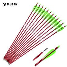 6/12/24pcs 30 Inches Archery Arrow Aluminum Arrows replaceable Arrowhead For 30-80lbs Compound Bow 2 Green 1 White Feather
