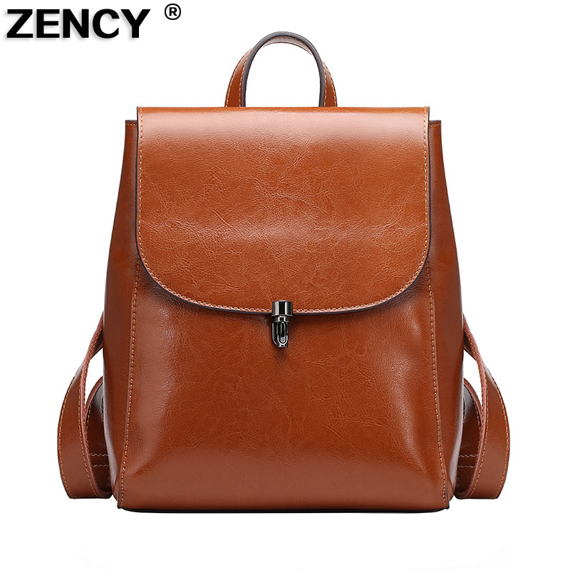 New Fashion Luxury Famous Brand Genuine Real Ladies Girls Oil Wax Cow Leather Backpack Women Female School Book Casual Bags luxury oil wax genuine cow leather women backpack small women s travel bags multifunction korean fashion women shoulder bags