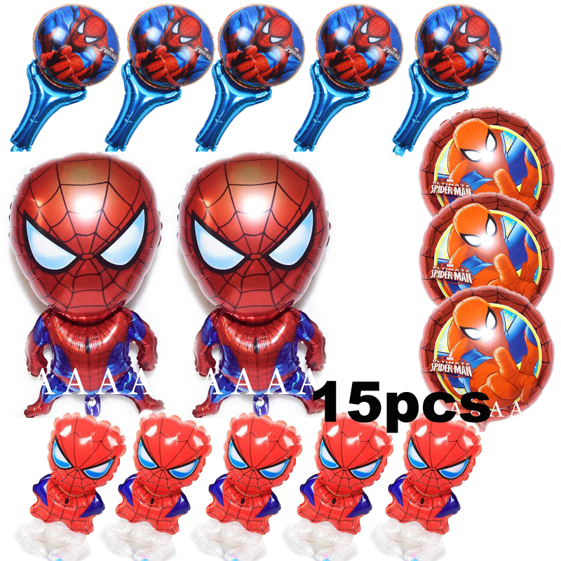 15pcs Lot Mixed Spiderman Foil Balloons Super Hero Set Birthday For Boy Happy Spider Man Helium